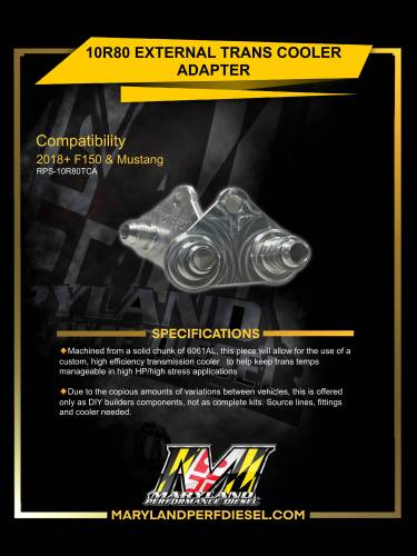 Maryland Performance Diesel - MPD 17-20 10R80 Trans Cooler Adapter